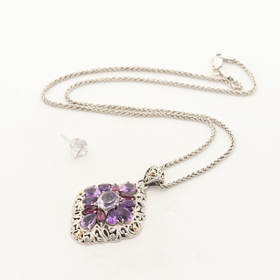 Robert Manse Sterling Amethyst and Garnet Pendant Necklace with 14K Gold Earring