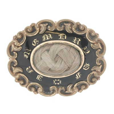 Victorian Hair, Enamel, and Acrylic Memento Mori Converter Brooch