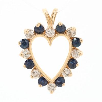 14K Yellow Gold Sapphire and Diamond Heart Pendant