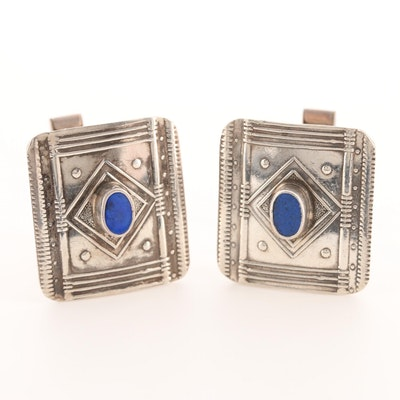 Vintage Sterling Silver Lapis Lazuli Cufflinks