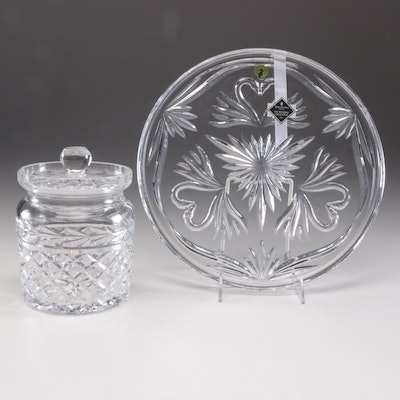 "Waterford Crystal ""Wedding Collection"" Cake Plate and Honey Jar"