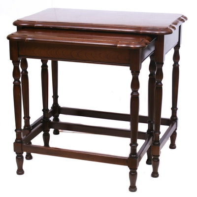 Mahogany-Finish Set of 2 Nesting Tables