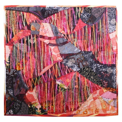 "Maya Chaimovich Hand-Crafted Art Quilt ""The Crimson Thread"""