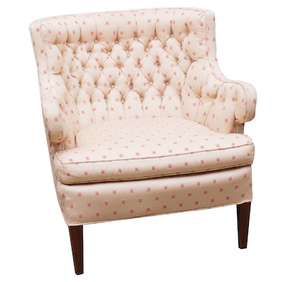 Custom Upholstered Barrel Back Tufted Armchair