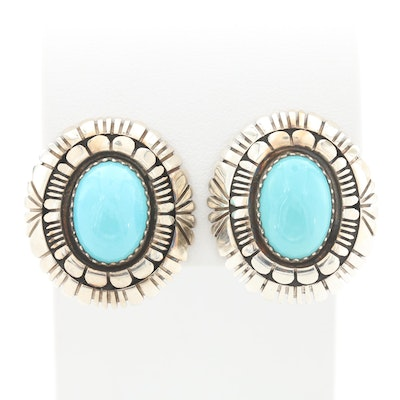 Southwestern Style Sterling Silver Turquoise Clip-On Earrings