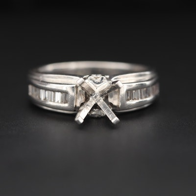 18K White Gold Diamond Semi-Mount Ring