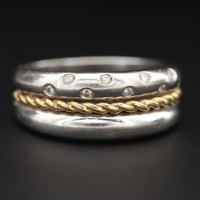 18K White Gold Diamond Ring with Yellow Gold Braided Accent