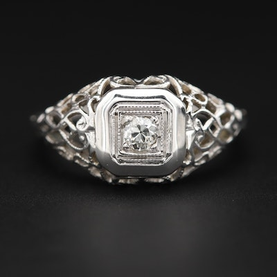 18K White Gold Diamond Filigree Ring