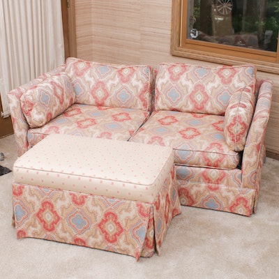 Contemporary Custom Upholstered Loveseat and Ottoman