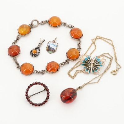 800, 835, and 900 Silver Jewelry Selection Including Amber and Garnet