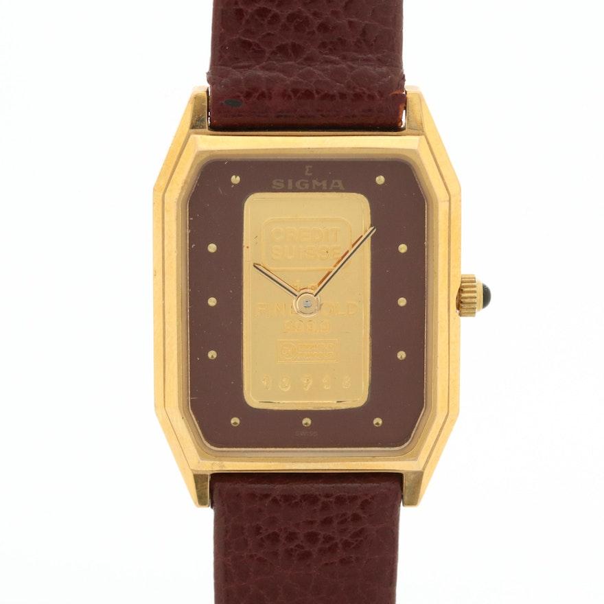 Sigma Gold Ingot Dial Quartz Wristwatch