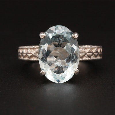 Sterling Silver 5.05 CT Aquamarine Ring