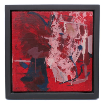 """Stacy Leeman 2008 Abstract Acrylic Painting """"Black over Red"""""""