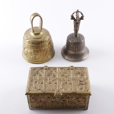 Gothic Style Brass and Pewter Reliquary Box and Bells