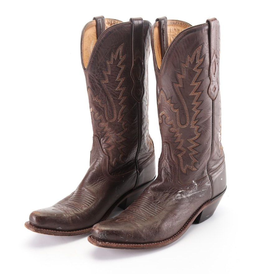 Women's Old West Embroidered Brown Leather Western Boots