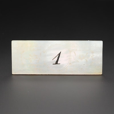 Chinese Mother of Pearl Numbered Gaming Counter