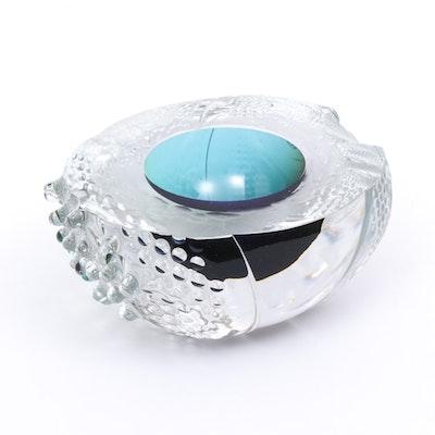 """Leon Applebaum Art Glass """"Texture Bowl"""" Centerpiece Sculpture, Contemporary"""