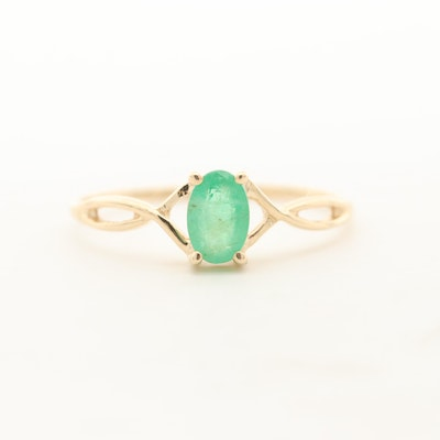 14K Yellow Gold Emerald Solitaire Ring