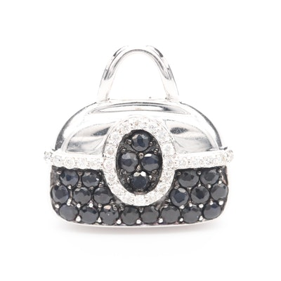 Mirabelle 18K White Gold Diamond and Blue Sapphire Purse Pendant