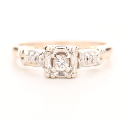 10K Yellow Gold Diamond Ring with 14K White Gold Accents