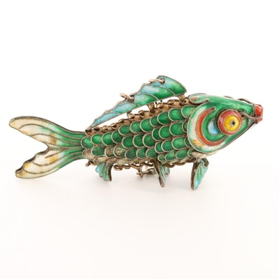 Sterling Silver Enamel Articulated Koi Fish Pendant
