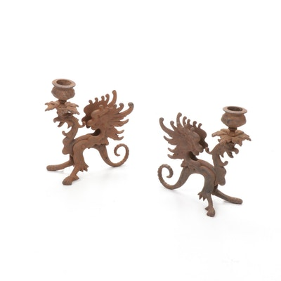 Cast Iron Griffin Candle Holders