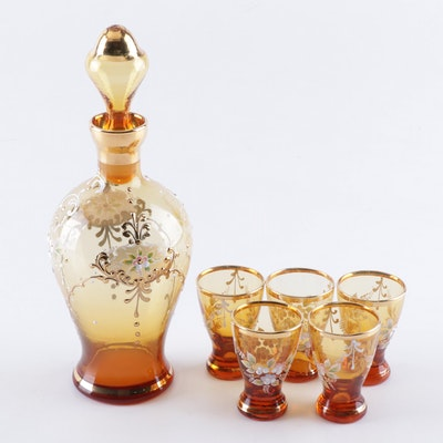 Bohemian Style Amber Glass Decanter and Cordial Set