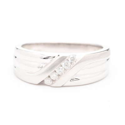 10K White Gold Diamond Tapered Band
