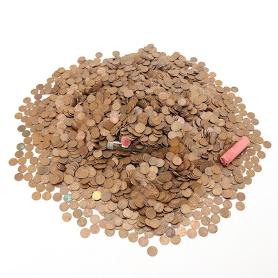Approximately 4,500 Lincoln Wheat Pennies in Burlap Bank Bag