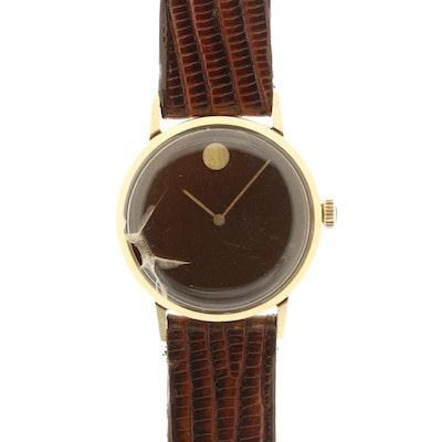 Vintage Movado Museum 14K Gold Stem Wind Wristwatch
