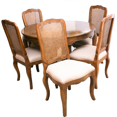 Baker Furniture Oak Dining Table and Chairs, Late 20th Century
