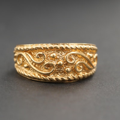 18K Yellow Gold Textured Ring with Rope Detail