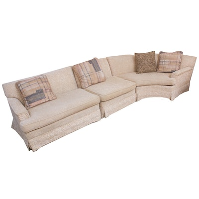 Fortners Neutral Swirl Pattern Upholstered Sectional Couch