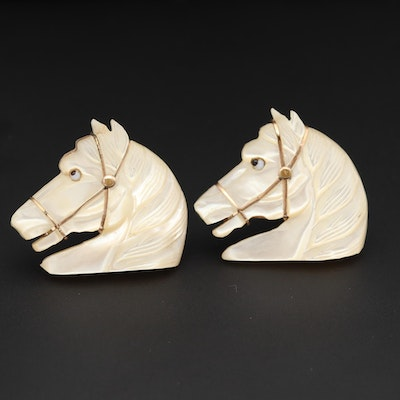 Vintage Carved Mother of Pearl and Glass Horse Motif Cufflinks with Box