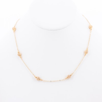 18K Yellow Gold Bead Station Necklace