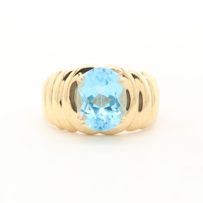 10K Yellow Gold Topaz Solitaire Ring
