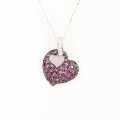 Sterling Silver Ruby and Cubic Zirconia Heart Pendant Necklace