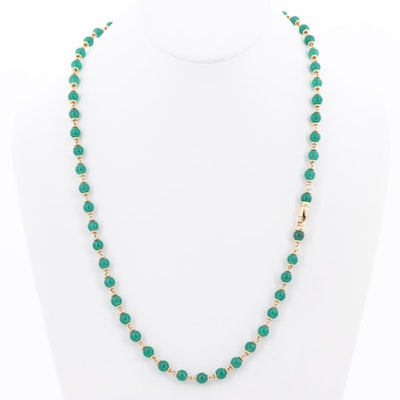 18K Yellow Gold Chalcedony Necklace with Extender