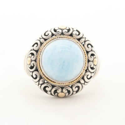 Robert Manse Sterling Silver Aquamarine Ring with 18K Yellow Gold Accents