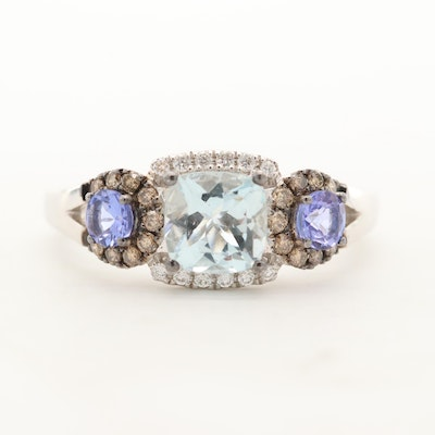 Le Vian 14K White Gold Aquamarine, Tanzanite and Diamond Ring
