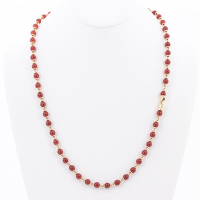 18K Yellow Gold Carnelian Necklace with Extender