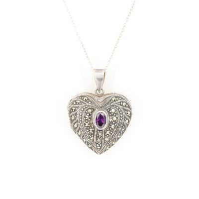 Sterling Silver Cubic Zirconia and Marcasite Heart Locket Pendant Necklace