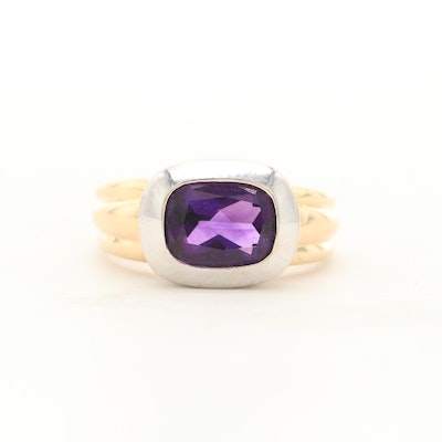 14K Yellow and White Gold Amethyst Ring