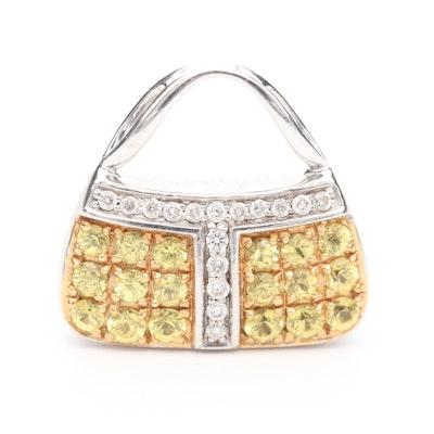 Mirabelle 18K White Gold Diamond and Yellow Sapphire Purse Pendant