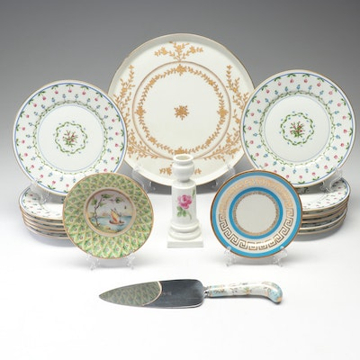 Ceralene and J.Pouyat Limoges Gilt Plates, Prill Pie Server, and More