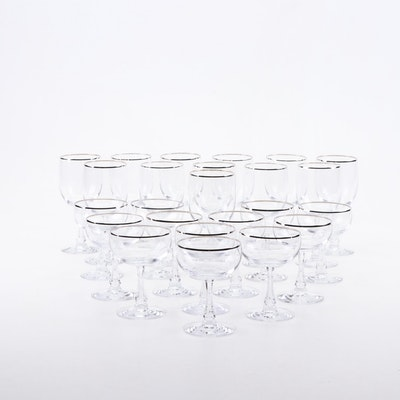"Fostoria ""Trousseau"" Platinum-Rim Wine Glasses and Champagne Coupes"