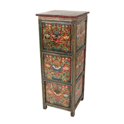 Sino-Tibetan Polychrome-Decorated Pine Cabinet, 20th Century