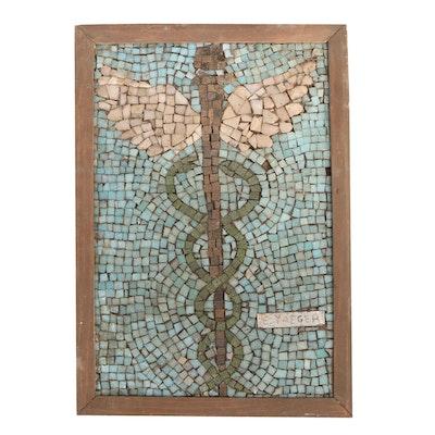 Edgar Yaeger Resin Tile Mosaic of a Caduceus