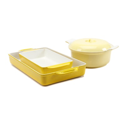 Mid Century Yellow Enameled Cookware Including Copco