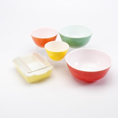 """Mid Century Pyrex """"Primary Colors"""" Nesting Mixing Bowls and Refrigerator Storage"""